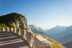 Mountain panorama from a curve Royalty Free Stock Images