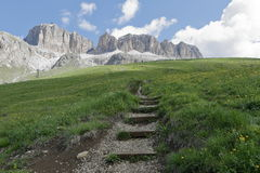 Mountain panorama of the Dolomites. In summer Royalty Free Stock Photo