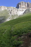Mountain panorama of the Dolomites. In summer Stock Photography
