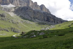 Mountain panorama of the Dolomites. In summer Royalty Free Stock Images
