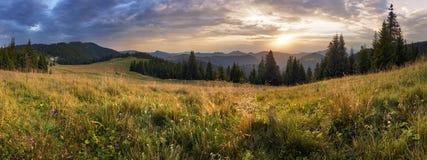 Mountain panorama at dramatic sunset in Slovakia, Velka Fatra, S royalty free stock image