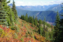 Mountain panorama in the fall. Fall in the Cascades in British Columbia,Canada Royalty Free Stock Image