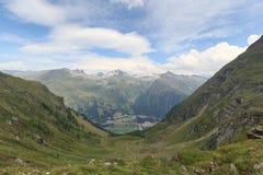 Mountain panorama with Felbertauern street in Hohe Tauern Alps Stock Photography