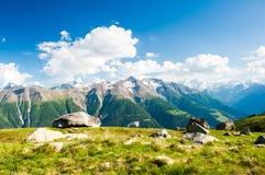 Mountain panorama from fiescheralp. And bettmeralp, wallis, switzerland royalty free stock photos