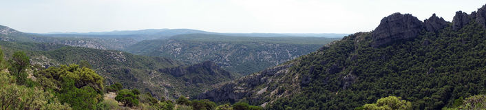 Mountain panorama. Gellone valley near Saint-Guilhem-le-Desert, France stock photos