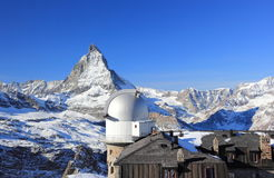 The mountain panorama and the glorious view of the Matterhorn from Gornergrat. The Alps, Switzerland. royalty free stock photo