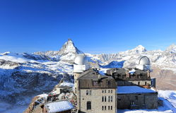 The mountain panorama and the glorious view of the Matterhorn from Gornergrat. The Alps, Switzerland. The Matterhorn (German) or Monte Cervino (Italian), also Royalty Free Stock Photo