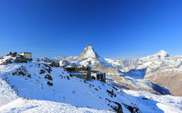 The mountain panorama and the glorious view of the Matterhorn from Gornergrat. The Alps, Switzerland. Stock Image