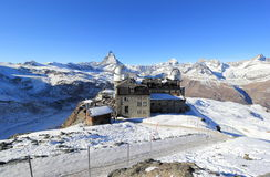 The mountain panorama and the glorious view of the Matterhorn from Gornergrat. The Alps, Switzerland. Royalty Free Stock Images