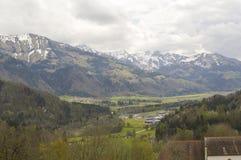 Mountain panorama in Gruyeres, switzerland Royalty Free Stock Images
