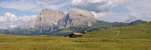 Mountain panorama, Italy. Landscape panorama of Sassolungo and Sassopiatto mountains, trentino, Italy Royalty Free Stock Photo