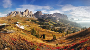 Mountain panorama in Italy Alps dolomites - Passo Gardena Royalty Free Stock Photo