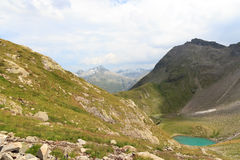 Mountain panorama and lake Lobbensee in Hohe Tauern Alps Royalty Free Stock Photography