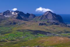 Mountain panorama on Lofoten Royalty Free Stock Images