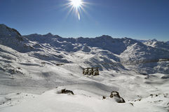 Mountain panorama made after powder day. Image of mountain panorama made after powder day. Val Thorens, France Royalty Free Stock Image