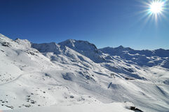 Mountain panorama made after powder day. Image of mountain panorama made after powder day. Val Thorens, France stock images