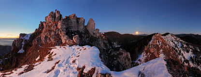 Mountain panorama with moon in Slovakia Fatras Stock Image