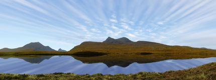 Mountain panorama with moving clouds Royalty Free Stock Photos