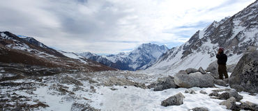 Mountain panorama in the Nepal Himalaya royalty free stock photography