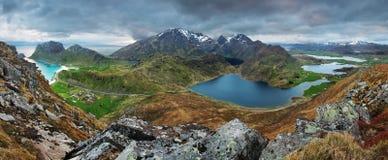 Mountain panorama in Norway, Lofoten Royalty Free Stock Photography
