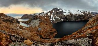 Mountain panorama in Norway, Lofoten - Moskenesoya Royalty Free Stock Photo