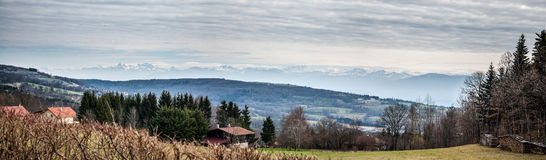 Mountain panorama over alps. Royalty Free Stock Images