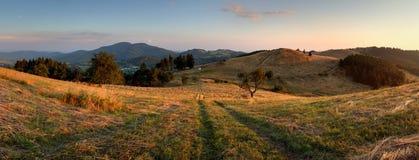 Mountain panorama over Banska Stiavnica stock photography