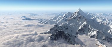 Mountain panorama over the clouds stock illustration