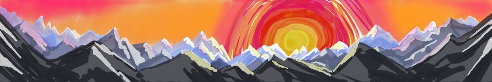 Mountain panorama painting, abstract art banner or header of mountain landscape Royalty Free Stock Photo