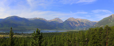 Mountain Panorama. Panoramic picture of a Mountain range and lake Royalty Free Stock Photos