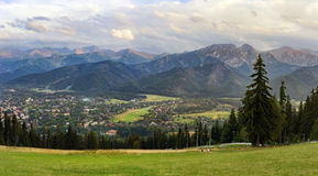 Mountain panorama. Panoramic view of Tatra Mountains and Zakopane from Gubalowka Hill, Poland royalty free stock image