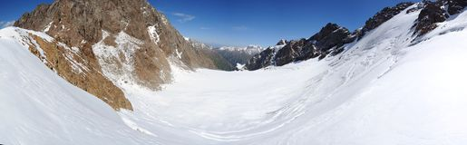 Mountain panorama. From the pass Inductee Tianshan Kyrgyzstan Royalty Free Stock Images
