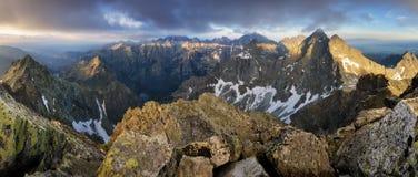 Mountain panorama from peak Rysy in High Tatras, Slovakia stock photos