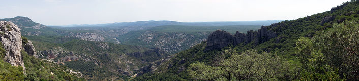 Mountain panorama. Psanorama of Gellone valley near Saint-Guilhem-le-Desert, France royalty free stock photography