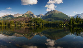 Mountain panorama reflected in Strbske lake Stock Image