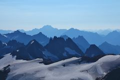 Mountain panorama seen from mount Titlis Stock Photography