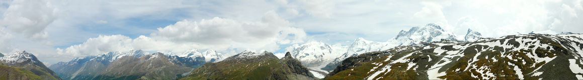 Mountain panorama shot above. Long mountain panorama in summer of the view from black lake above Zermatt Switzerland underneath mountain Matterhorn,with grassy Royalty Free Stock Photo