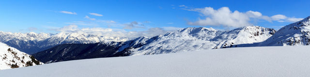 Mountain panorama with snow and blue sky in winter in Stubai Alps Stock Photo