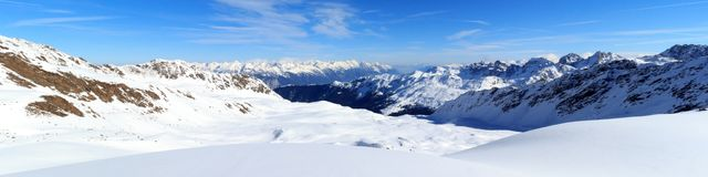 Mountain panorama with snow and blue sky in winter in Stubai Alps Royalty Free Stock Photography