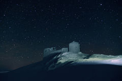 Mountain panorama snow-covered building, castle  on a mountain t Stock Images