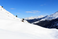 Mountain panorama with snow, trees and blue sky in winter in Stubai Alps. Austria Stock Photos