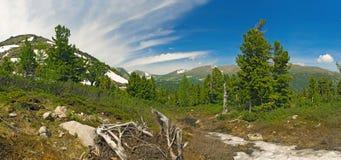 Mountain panorama in the spring Stock Photos