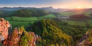 Mountain panorama with sun Stock Photography