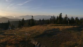 Mountain panorama after sunrise. Early autumn. View from the top of Velka Raca Poland stock photo