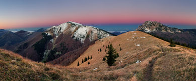 Mountain panorama before sunrise in Slovakia stock images