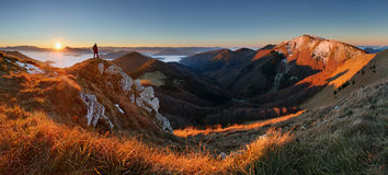 Mountain panorama before sunrise in Slovakia Stock Photography