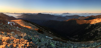 Mountain panorama at sunset with path - Low Tatras Stock Photos
