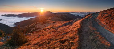Mountain panorama at sunset with path - Low Tatras Royalty Free Stock Images