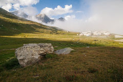 Mountain panorama, Switzerland. View of mountain panorama, Switzerland in summer Stock Photos