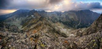 Mountain panorama in Tatras at sunset, Slavkosky peak Royalty Free Stock Photography